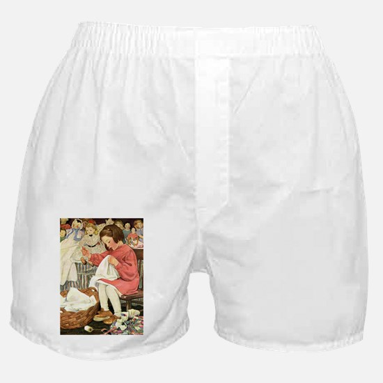Little Girl Sewing Boxer Shorts