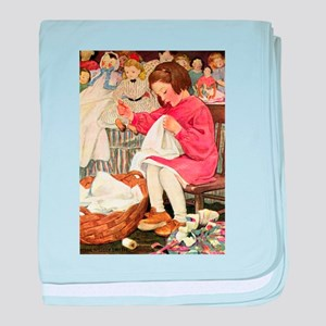 Little Girl Sewing baby blanket