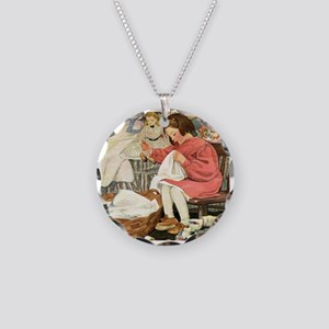 Little Girl Sewing Necklace Circle Charm