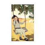Girl on a Swing Sticker (Rectangle)