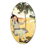 Girl on a Swing Sticker (Oval)