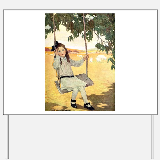Girl on a Swing Yard Sign