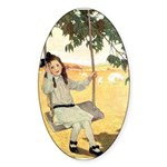 Girl on a Swing Sticker (Oval 10 pk)