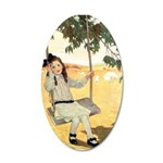 Girl on a Swing 35x21 Oval Wall Decal