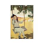 Girl on a Swing Rectangle Magnet (100 pack)