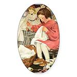 Little Girl Sewing Sticker (Oval 10 pk)
