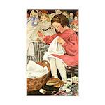 Little Girl Sewing Sticker (Rectangle 50 pk)