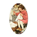 Little Girl Sewing 20x12 Oval Wall Decal