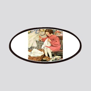Little Girl Sewing Patches