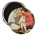 Little Girl Sewing Magnet