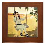 Girl on a Swing Framed Tile