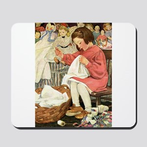 Little Girl Sewing Mousepad