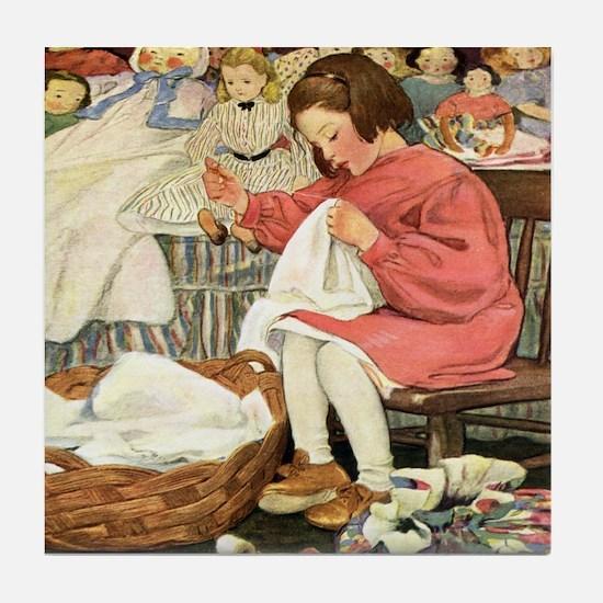 Little Girl Sewing Tile Coaster