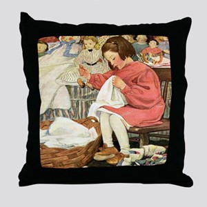 Little Girl Sewing Throw Pillow