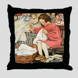 Little Girl Sewing Throw Pillow