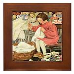 Little Girl Sewing Framed Tile