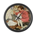 Little Girl Sewing Large Wall Clock