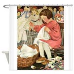 Little Girl Sewing Shower Curtain