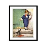 A Boy and His Puppy Framed Panel Print