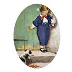 A Boy and His Puppy Ornament (Oval)