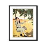 Girl on a Swing Framed Panel Print