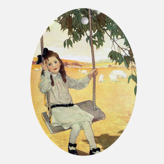 Girl on a Swing Ornament (Oval)