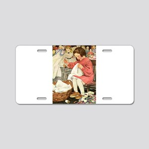 Little Girl Sewing Aluminum License Plate