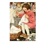 Little Girl Sewing Postcards (Package of 8)