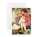 Little Girl Sewing Greeting Cards (Pk of 10)