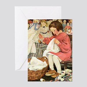 Little Girl Sewing Greeting Card