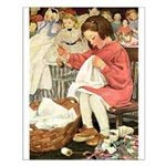 Little Girl Sewing Small Poster