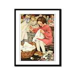 Little Girl Sewing Framed Panel Print