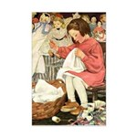 Little Girl Sewing Mini Poster Print