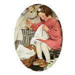 Little Girl Sewing Ornament (Oval)