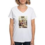 Children Saying Grace Women's V-Neck T-Shirt