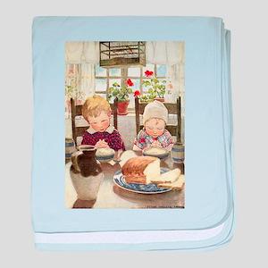 Children Saying Grace baby blanket