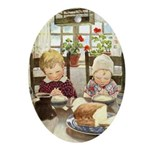 Children Saying Grace Ornament (Oval)
