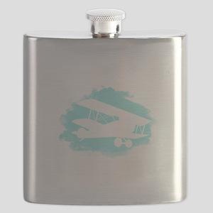 Biplane Cloud Silhouette Flask