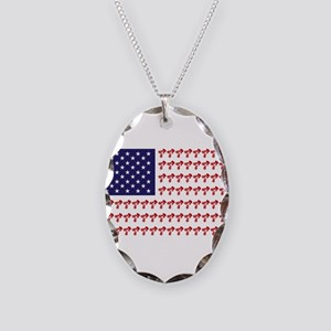 Patriotic BMX Bike Rider/USA Necklace Oval Charm