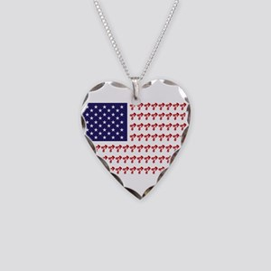 Patriotic BMX Bike Rider/USA Necklace Heart Charm