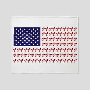 Patriotic BMX Bike Rider/USA Throw Blanket