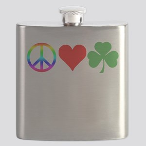 Peace Love Shamrock Irish Flask