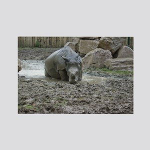 Rhino in the Mud Rectangle Magnet