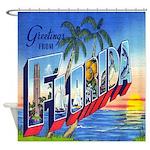 Vintage Florida Greetings Postcard Shower Curtain