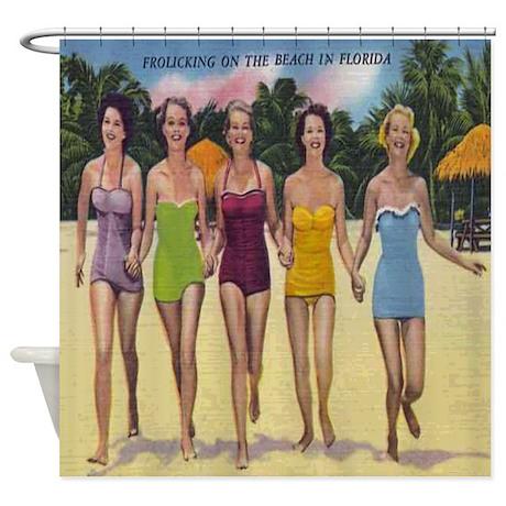 Women Beach Vintage Postcard Shower Curtain
