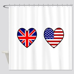 USA UK Flag Hearts Shower Curtain