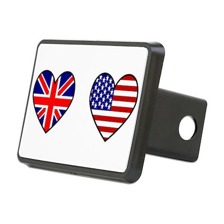 USA / UK Flag Hearts Rectangular Hitch Cover