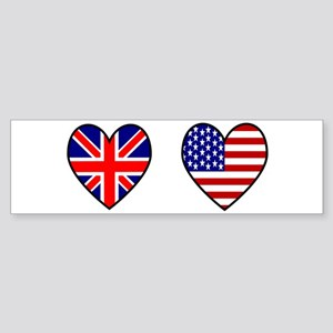 USA / UK Flag Hearts Sticker (Bumper)