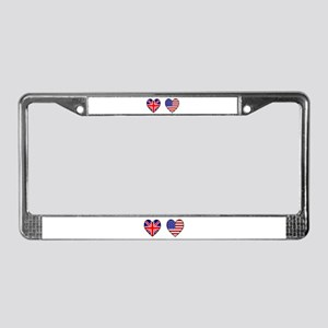 USA / UK Flag Hearts License Plate Frame