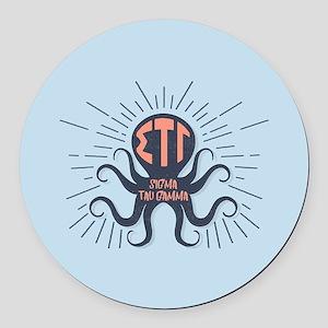 Sigma Tau Gamma Octopus Round Car Magnet